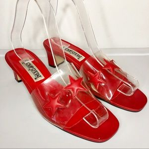 Vintage 90s Stars Novelty Clear Square Toe Heels